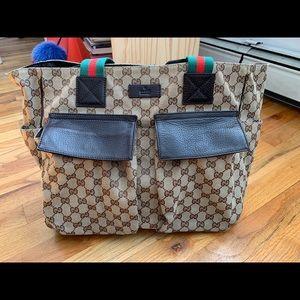 Vintage Gucci Canvas Tote Bag